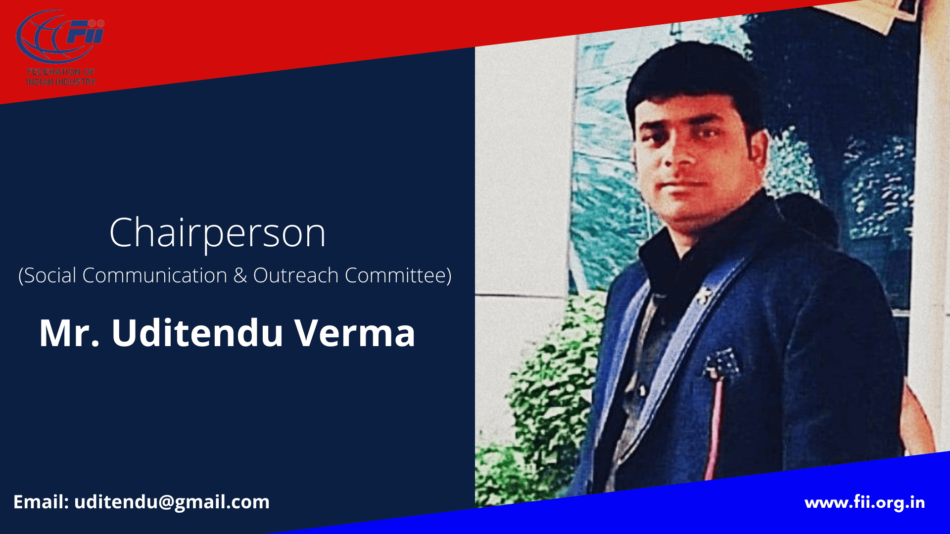 Mr. Uditendu Verma, Chairperson, Social Outreach Committee